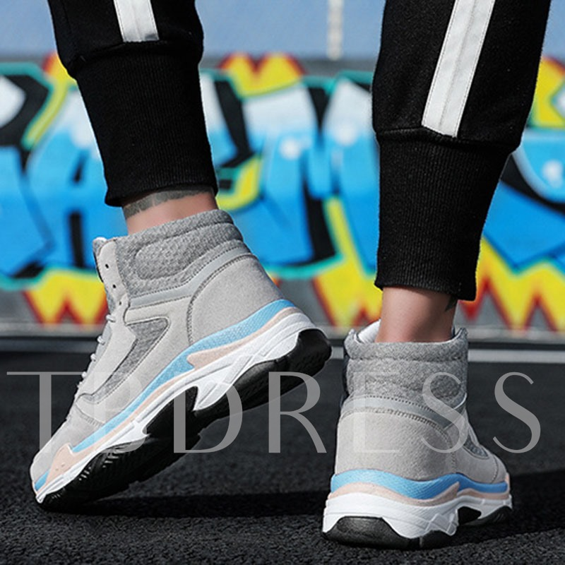 Lace-Up High Top Color Block Men's Basketball Shoes