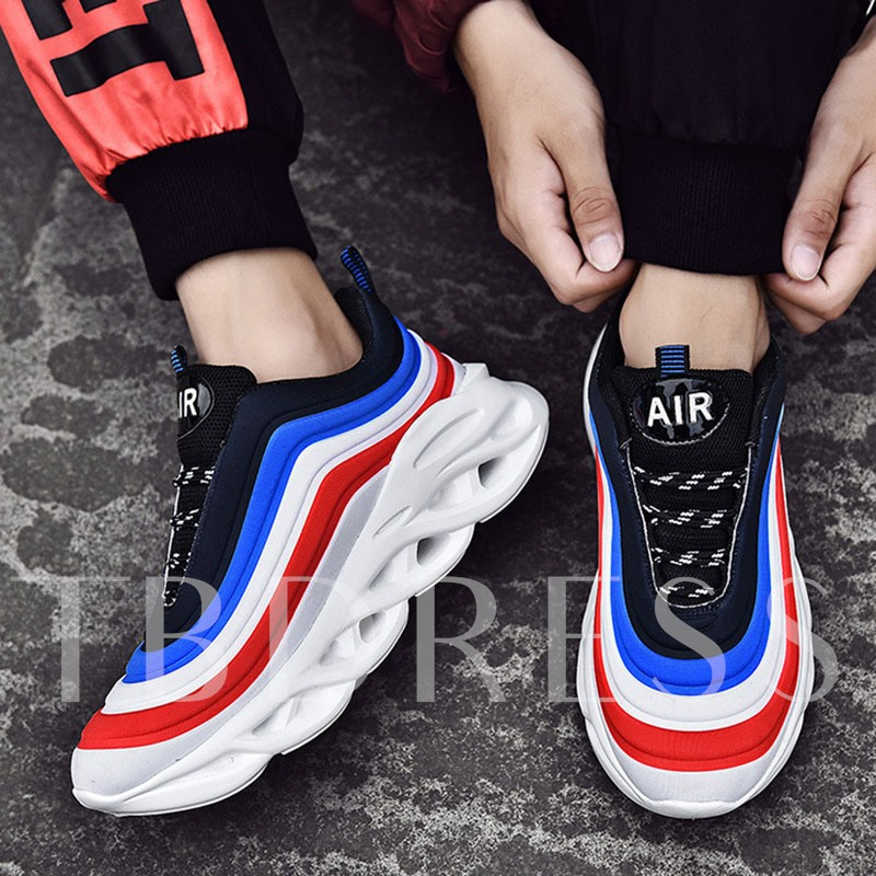 Lace-Up Simple Patchwork Men's Sneakers
