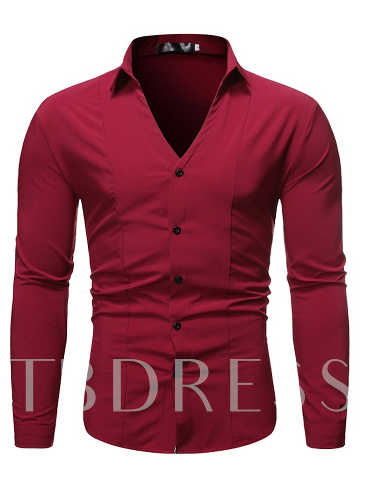 Fashion Plain Lapel Single-Breasted Button Polar Fleece Long Sleeves Slim Fit Men's Shirt