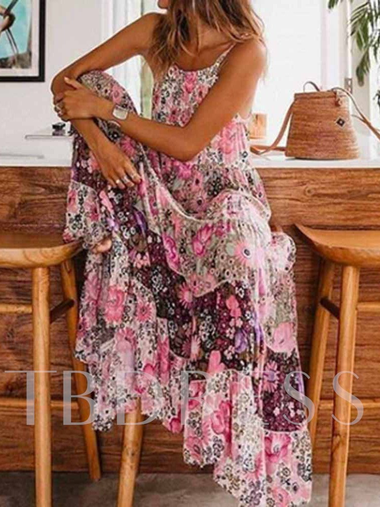 Sleeveless Ankle-Length Print Scoop Floral Women's Maxi Dress