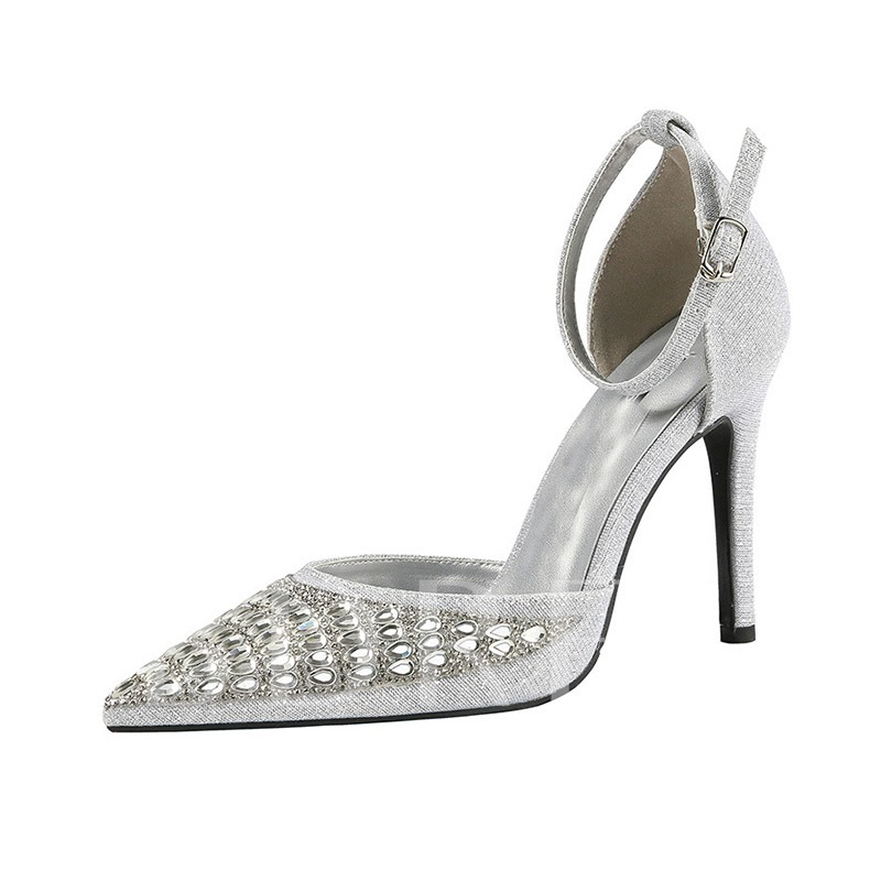 Rhinestone Buckle Pointed Toe Stiletto Heel Women's Sandals