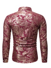 Casual Shiny Gold Floral Print Party Club Shirt Lapel Single-Breasted Long Sleeves Slim Fit Men's Shirt