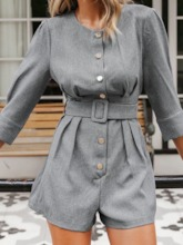 Plain Fashion Shorts Button Slim Women's Romper