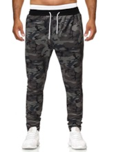 Prints Camouflage Pockets Lace-Up Mid Waist Full Length Loose Men's Casual Pants