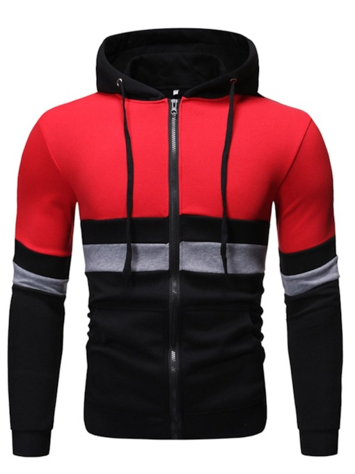 Fashion Zipper Cardigan Pocket Color Block Regular Slim Men's Hoodies