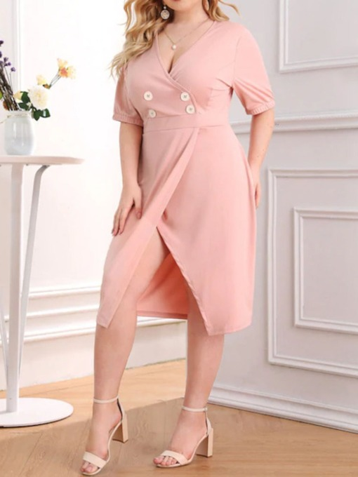 Plus Size Half Sleeve Mid-Calf Split V-Neck Summer Women's Dress