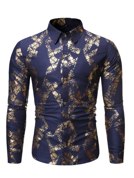 Casual Floral Shinny Gold Print Lapel Color Block Slim Men's Shirt