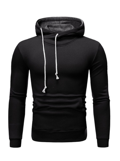 Regular Plain Pocket Pullover Hooded Men's Hoodies