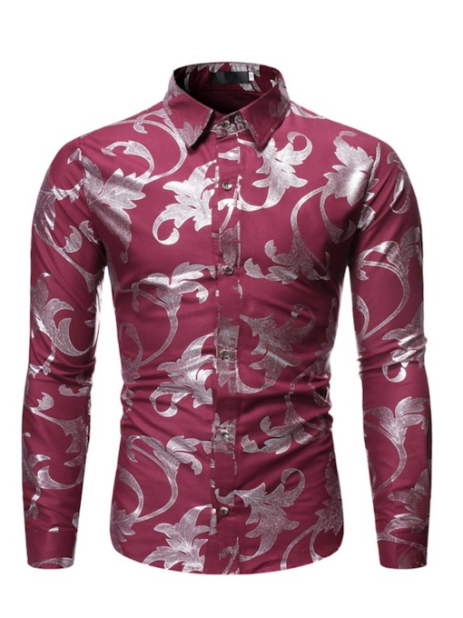Casual Multicolor Shinny Gold Print Lapel Print Color Block Long Sleeves Men's Shirt