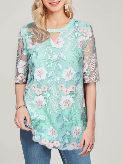Floral Round Neck Embroidery Half Sleeve Women's Blouse
