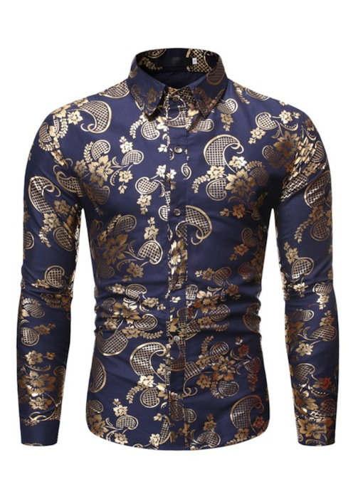 Casual Shinny Gold Print Floral Lapel Color Block Button Single-Breasted Slim Men's Shirt