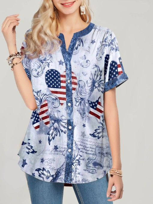 Print Star Mid-Length Women's Blouse