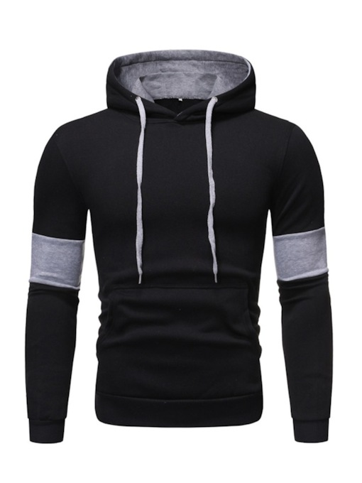 Regular Cotton Blends Color Block Pullovers Pocket Loose Men's Hoodies