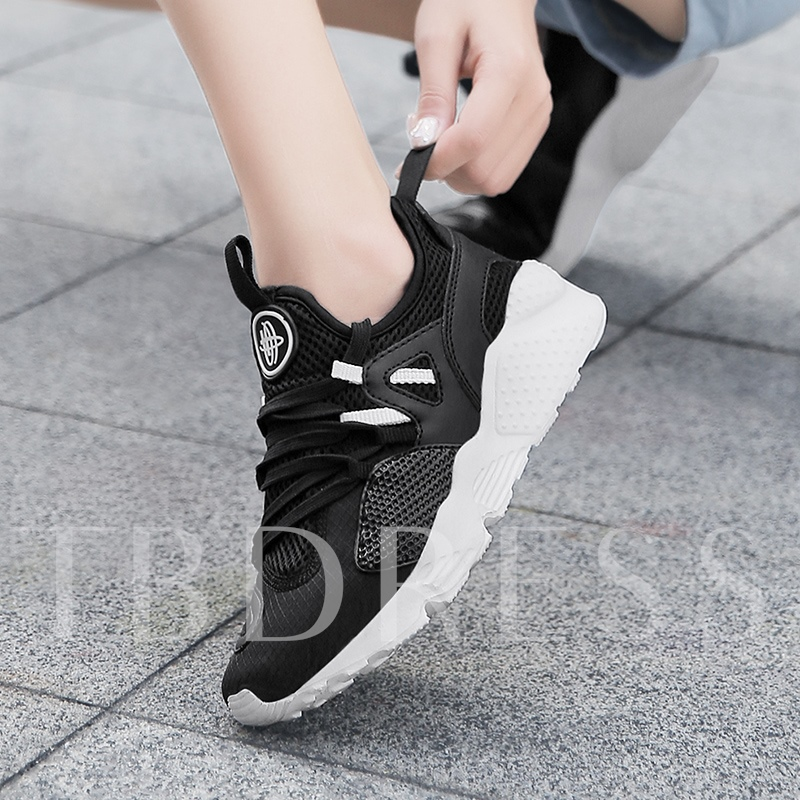 Round Toe Lace-Up Color Block Mesh Women's Sneakers