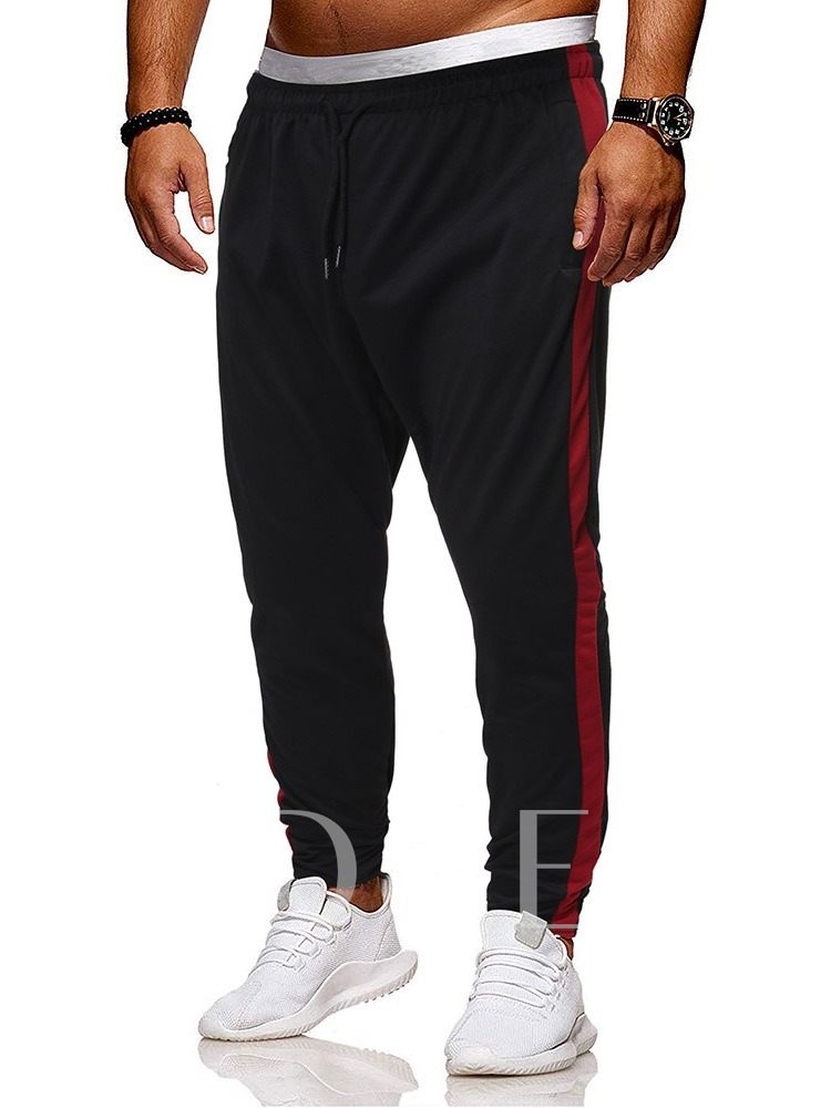 Cotton Blends Sports Style Mid Waist Color Block Lace-Up Fall Loose Men's Casual Pants