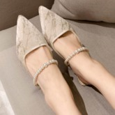 Pointed Toe Slip-On Shaped Heel Women's Prom Shoes