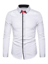 Color Block Lapel Fashion Button Spring Men's Shirt