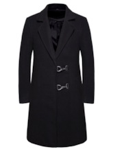 Pocket Long Notched Lapel Plain Single-Breasted Men's Coat