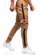 Fashion Loose Color Block Lace-Up Pockets Overall Casual Men's Jeans