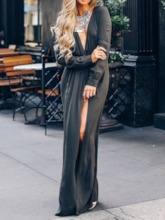 V-Neck Print Floor-Length Long Sleeve Fall Women's Maxi Dress