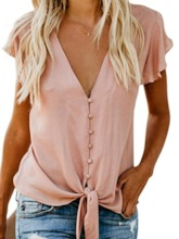 Button Deep V-Neck Plain Mid-Length Women's Blouse