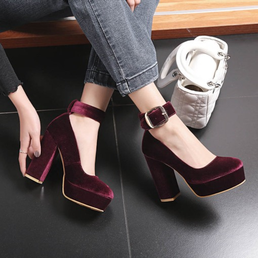 Line-Style Buckle Chunky Heel Round Toe Pumps