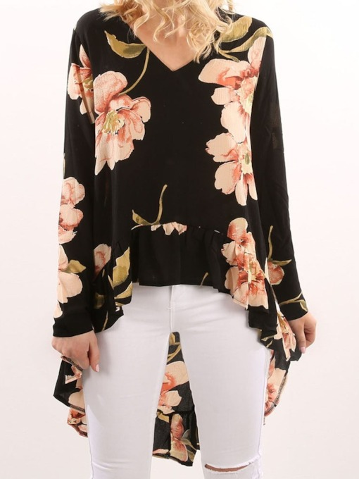 Floral Print V-Neck Long Women's Blouse