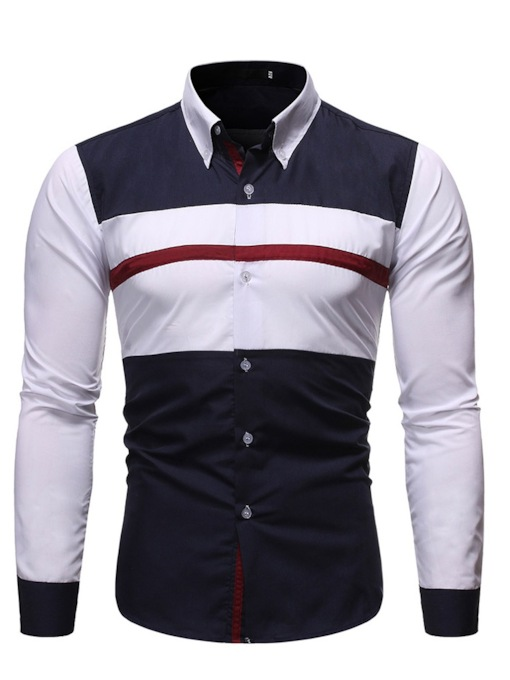 Casual Patchwork Color Block Lapel Polar Fleece Long Sleeves Loose Men's Shirt
