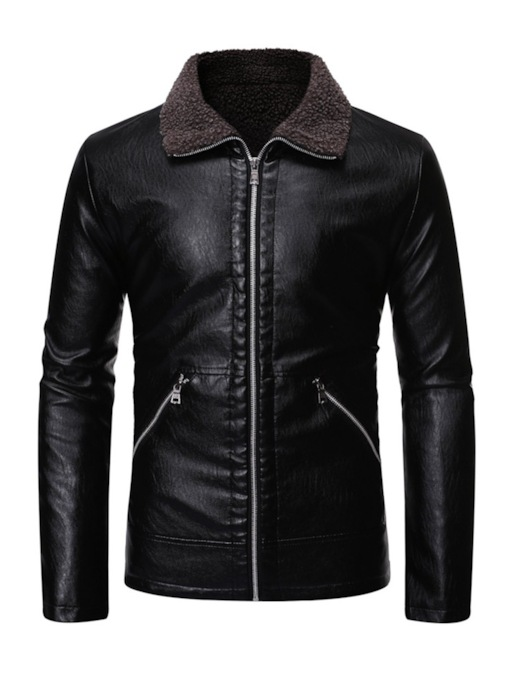 Lapel Zipper Slim Men's Jacket