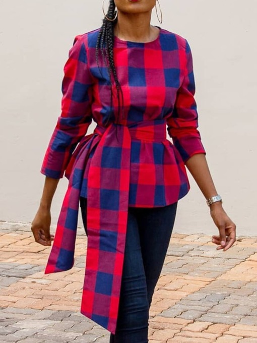 Plaid Asymmetric Round Neck Three-Quarter Sleeve Women's Blouse