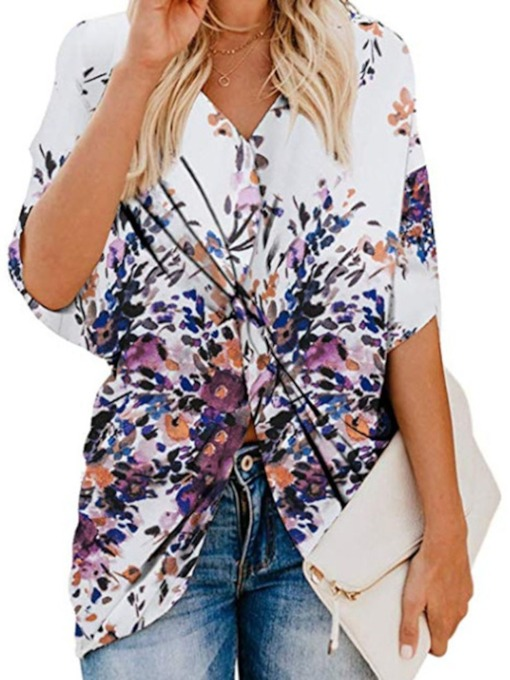 Print Color Block V-Neck Mid-Length Women's Blouse
