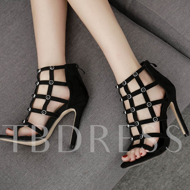 Suede Stiletto Heel Zipper Peep Toe Women's Sandals