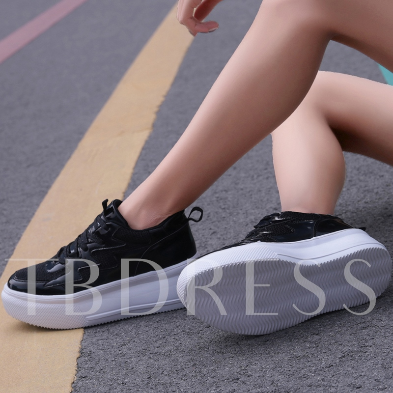 Low-Cut Upper Round Toe Sequin Lace-Up Platform Sneakers