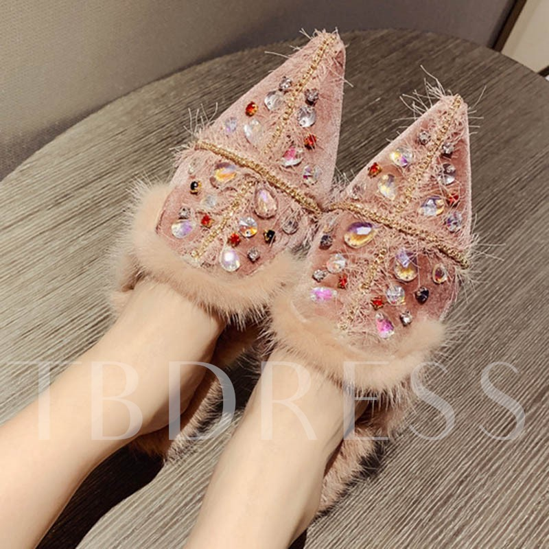 Slip On Closed Toe Rhinestone Suede Women's Sandals