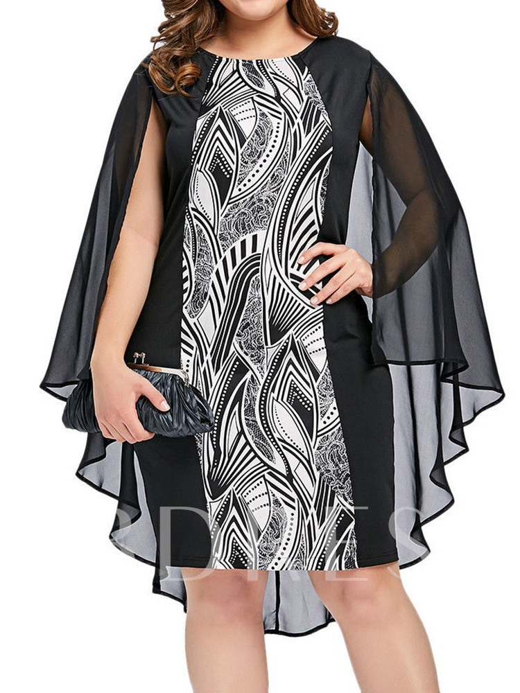 Plus Size Print Long Sleeve Round Neck Summer Women's Dress