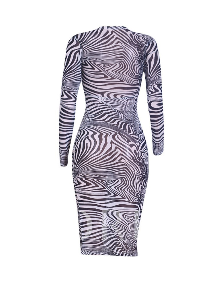 Mid-Calf Print Round Neck Zebra-Stripe Women's Long Sleeve Dress