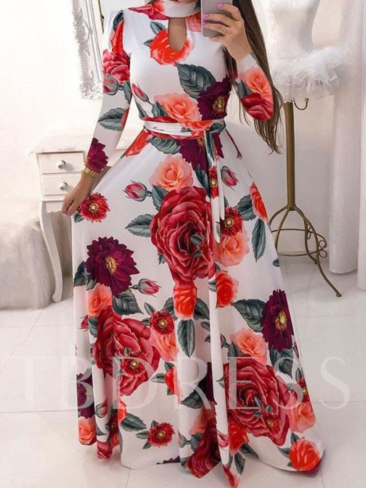 Stand Collar Nine Points Sleeve Print Pullover Women's Maxi Dress