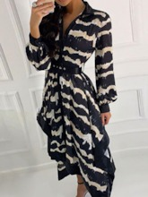 Print Mid-Calf V-Neck Pullover Women's Long Sleeve Dress