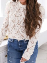 Round Neck Hollow Long Sleeve Women's Blouse