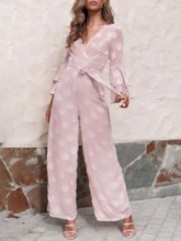 Fashion Plain Lace-Up Full Length Wide Legs Women's Jumpsuit