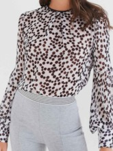 Polka Dots Lantern Sleeve Long Women's Blouse