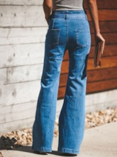 Bellbottoms Plain Pocket Slim Women's Jeans