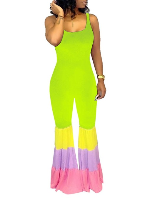 Color Block Full Length Fashion Bellbottoms Women's Jumpsuit