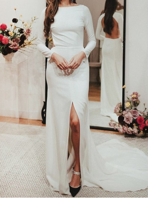 Long Sleeves Split-Front Backless Wedding Dress 2019