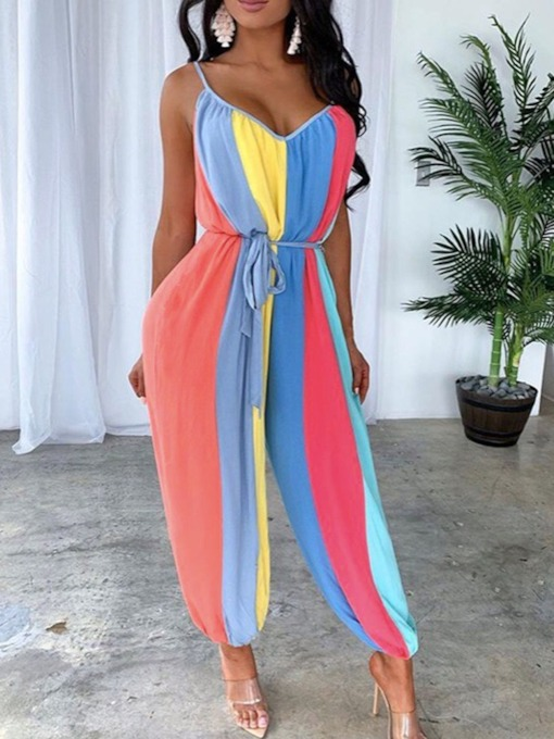 Strap Western Full Length Color Block Loose Women's Jumpsuit