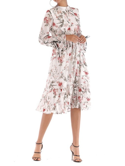 Stand Collar Print Mid-Calf Floral Women's Long Sleeve Dress