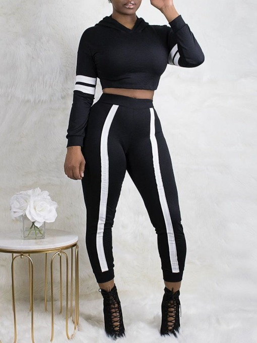 Western Color Block Mid-Calf Pants Pencil Pants Women's Two Piece Sets