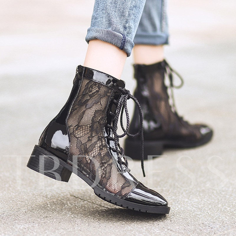 Back Zip Chunky Heel Square Toe Lace Hollow Sexy Ankle Boots