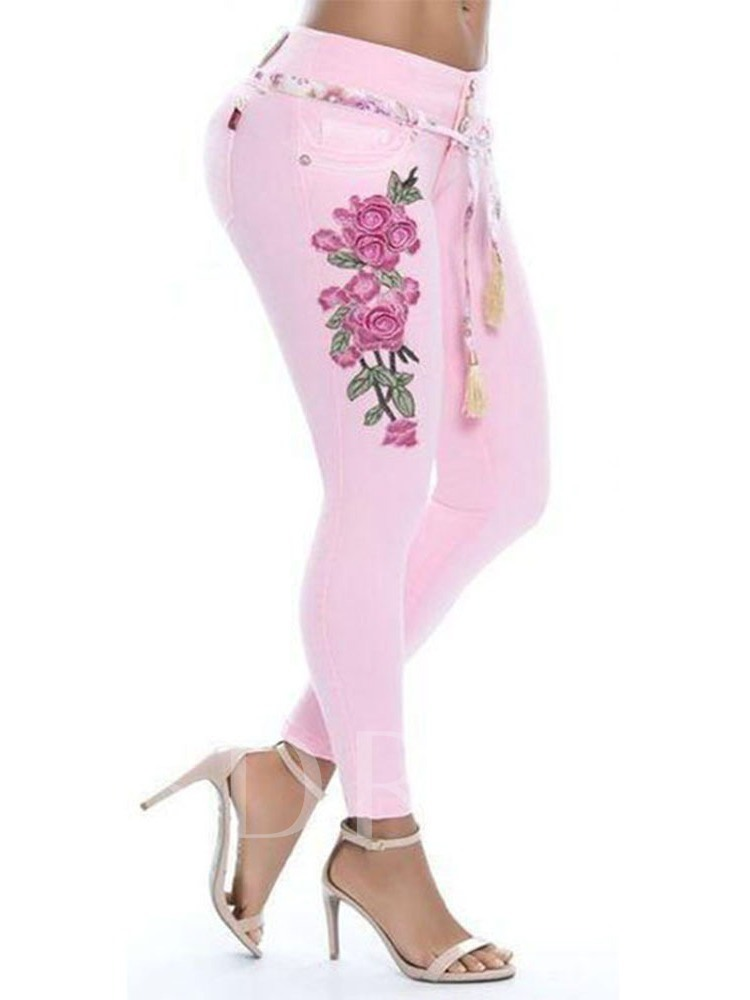 Embroidery Pencil Pants Floral Button Women's Jeans