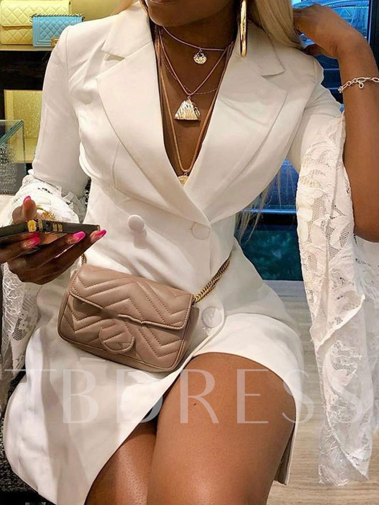 Long Sleeve Notched Lapel Double-Breasted Women's Lace Dress